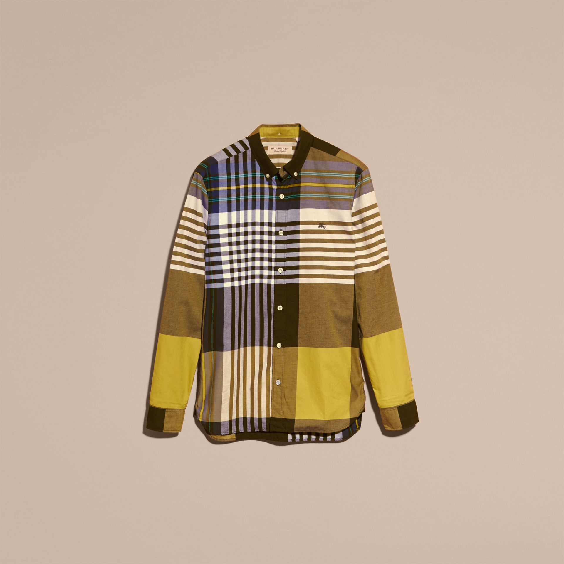 Graphic Tartan Cotton Shirt in Larch Yellow - gallery image 4