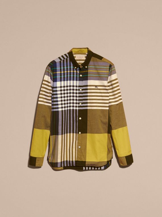 Graphic Tartan Cotton Shirt in Larch Yellow - cell image 3