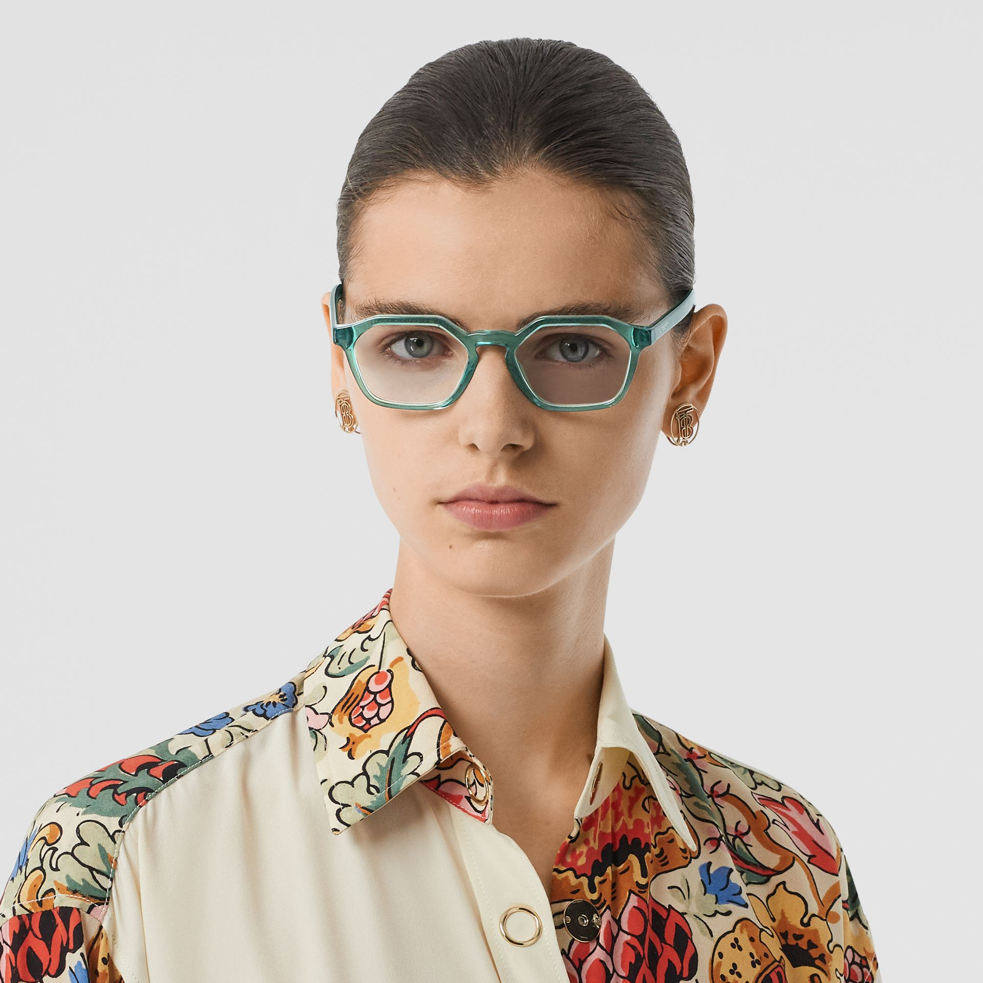 Geometric Optical Frames in Green - Women | Burberry - gallery image 2