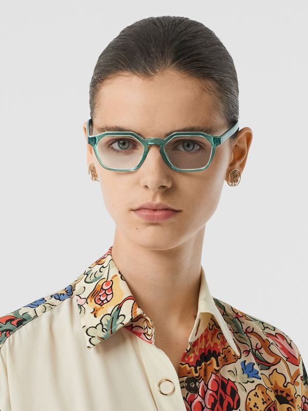 Geometric Optical Frames in Green - Women | Burberry - cell image 2