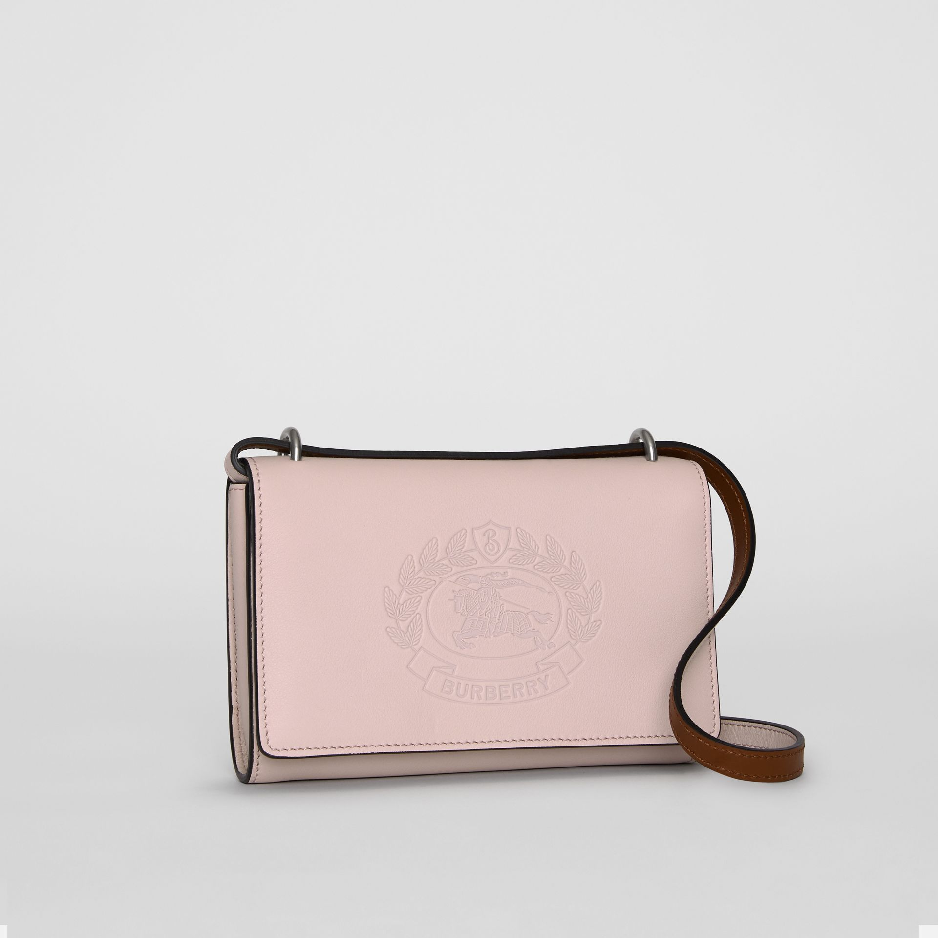 Embossed Crest Leather Wallet with Detachable Strap in Chalk Pink - Women | Burberry - gallery image 6