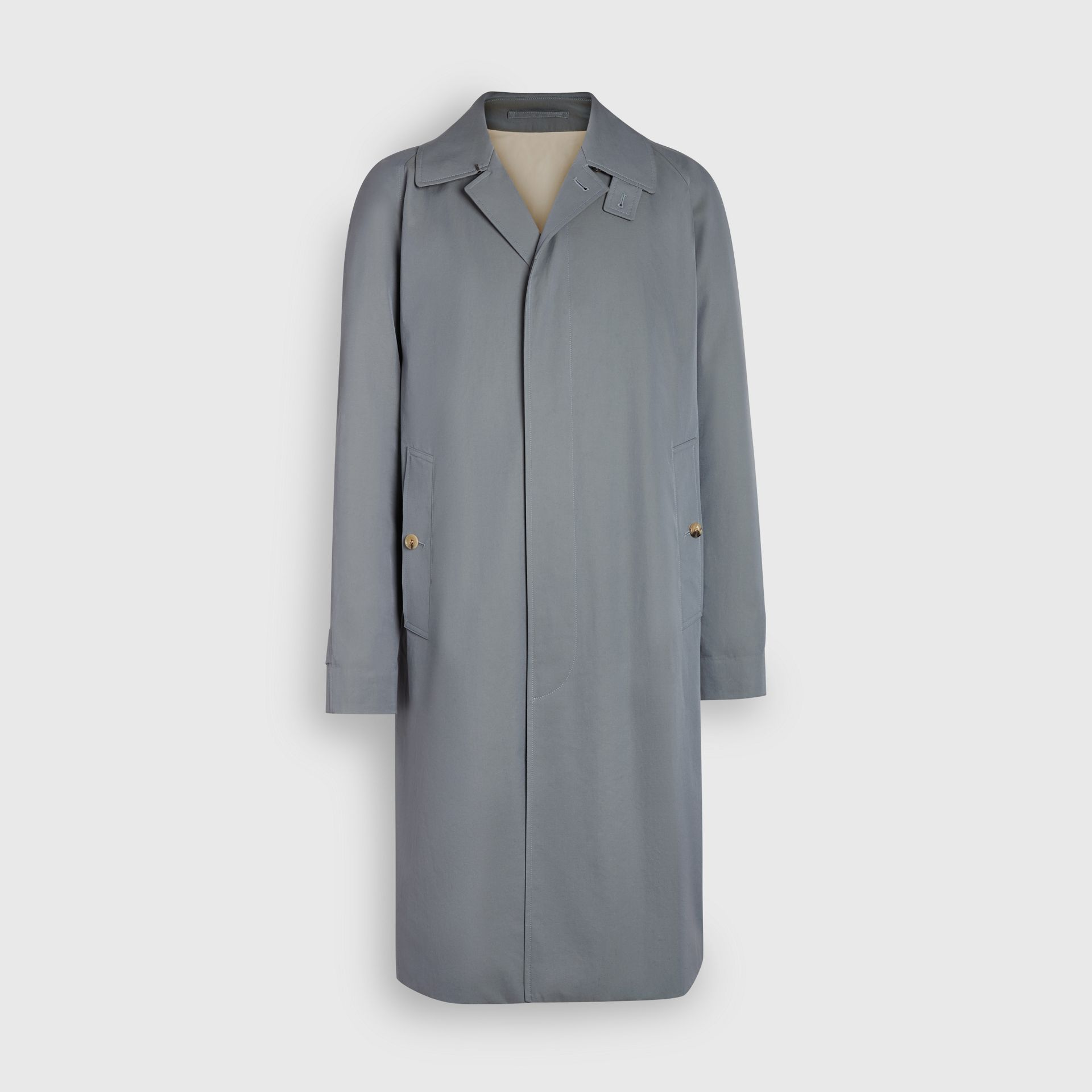 Archive Logo-lined Tropical Gabardine Car Coat in Dusty Blue - Men | Burberry United Kingdom - gallery image 6