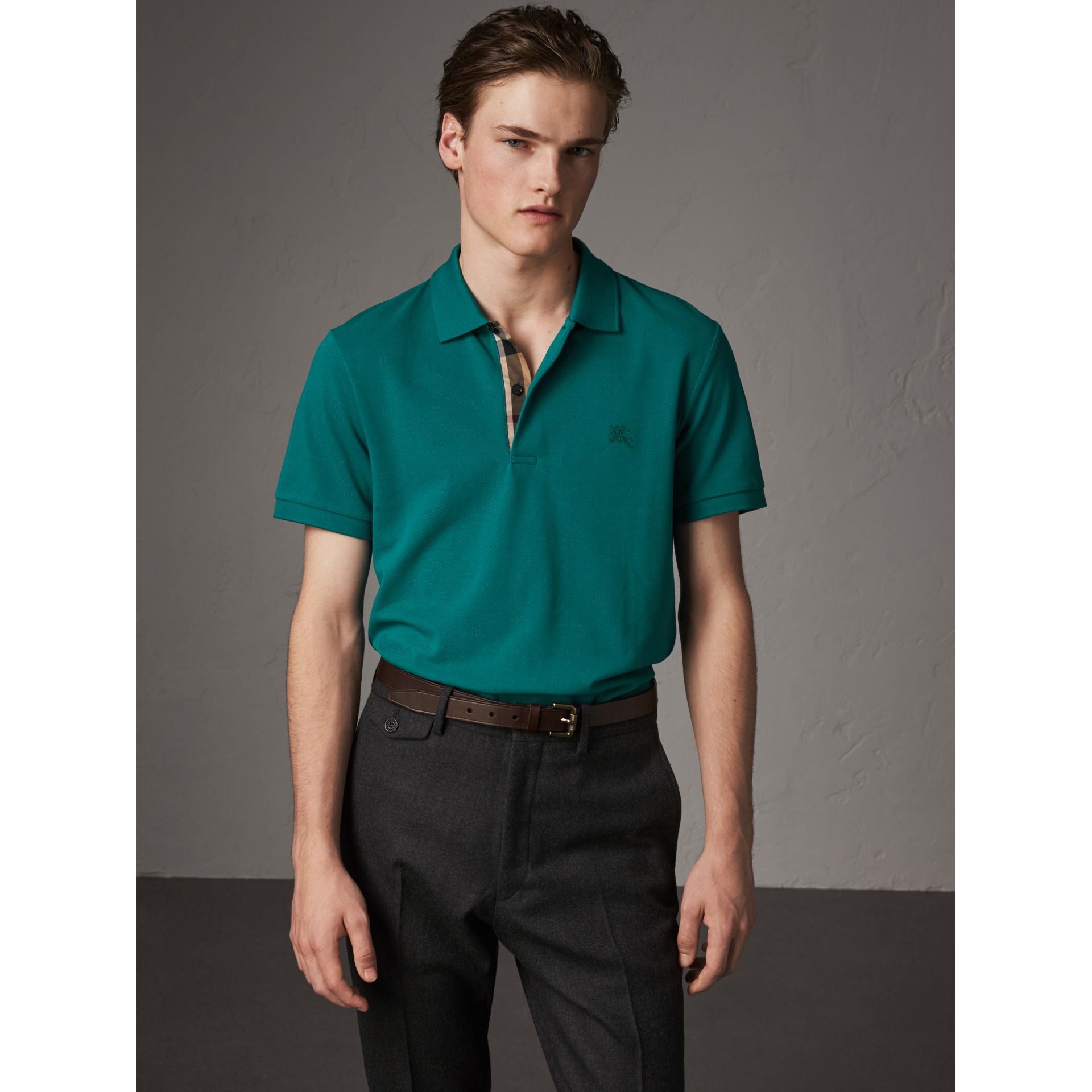 Check Placket Cotton Piqué Polo Shirt in Pine Green - Men | Burberry - gallery image 0