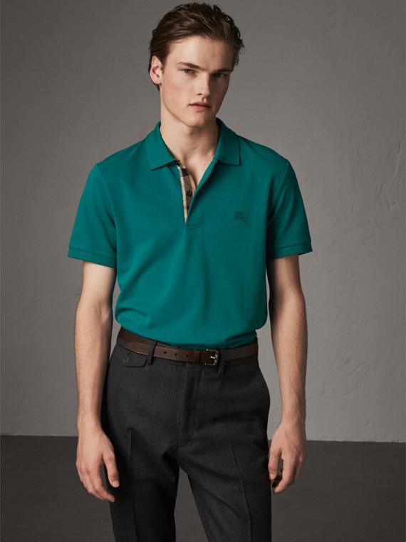 Poloshirt aus Baumwollpiqué mit Knopfleiste im Karodesign (Kieferngrün)