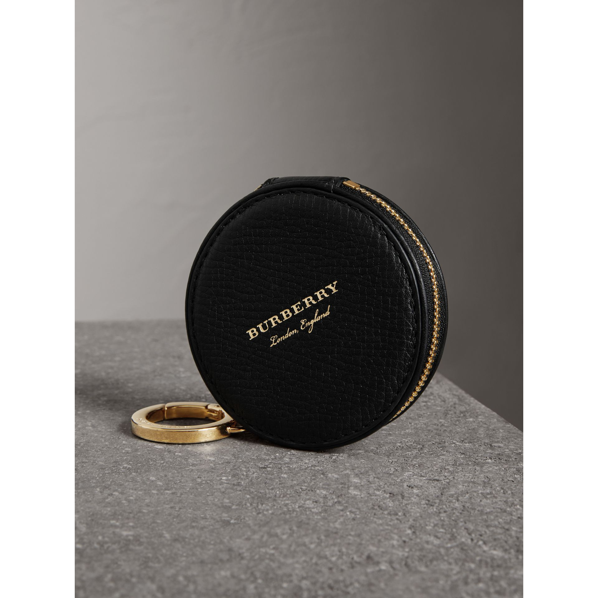 Haymarket Check and Leather Coin Case in Black - Men | Burberry - gallery image 2