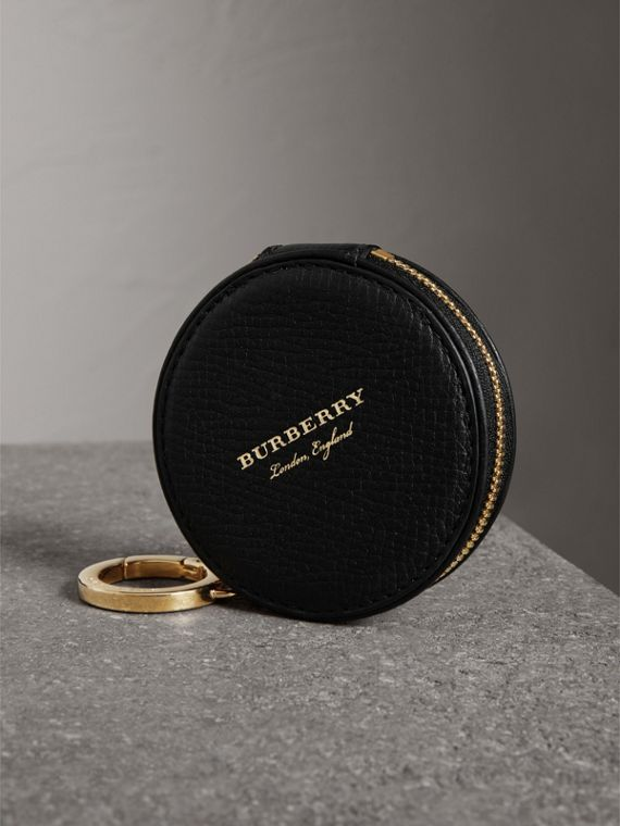Haymarket Check and Leather Coin Case in Black - Men | Burberry United Kingdom - cell image 2