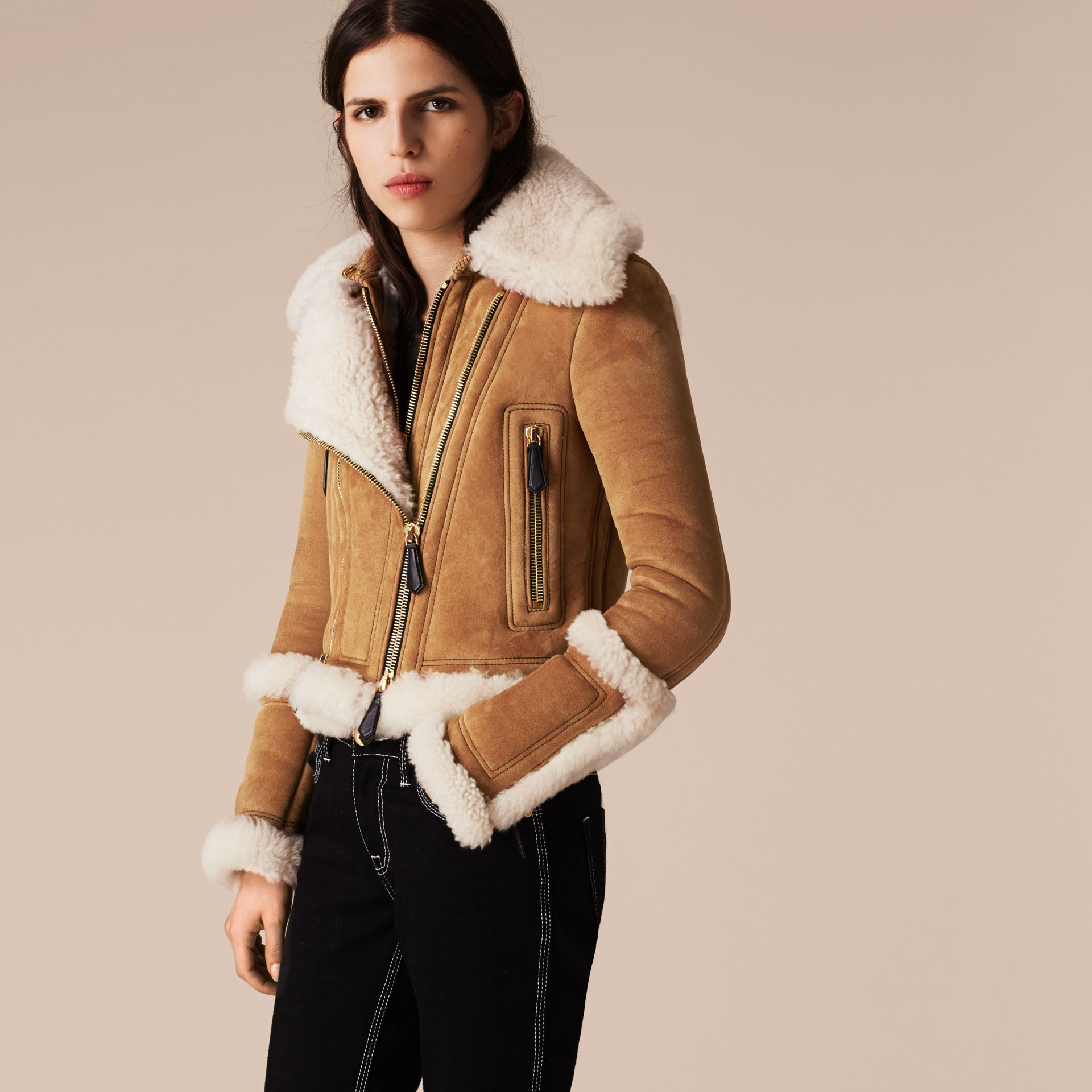Tan/white Shearling Biker Jacket - gallery image 4