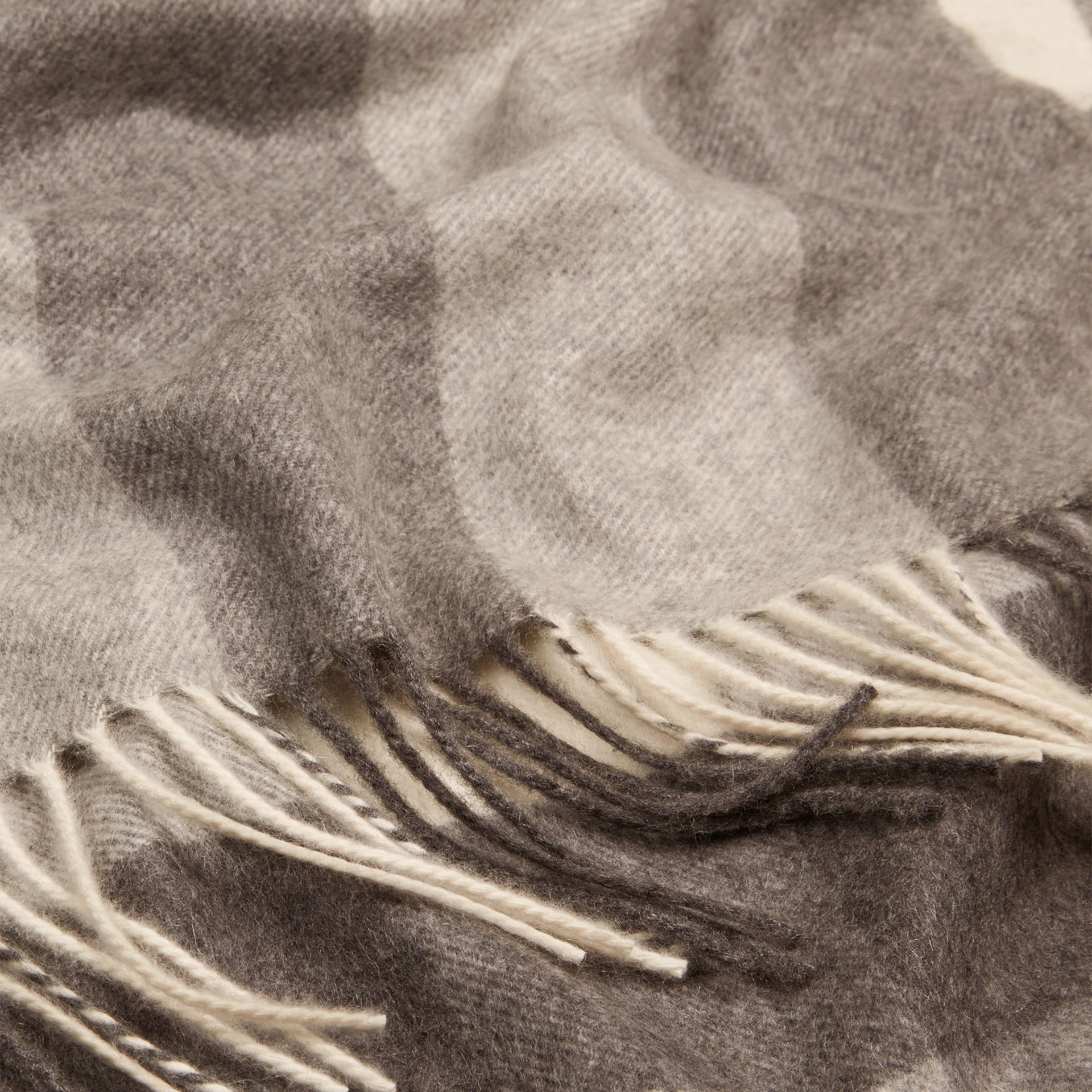 Check Cashmere Blanket Pale Grey - gallery image 2