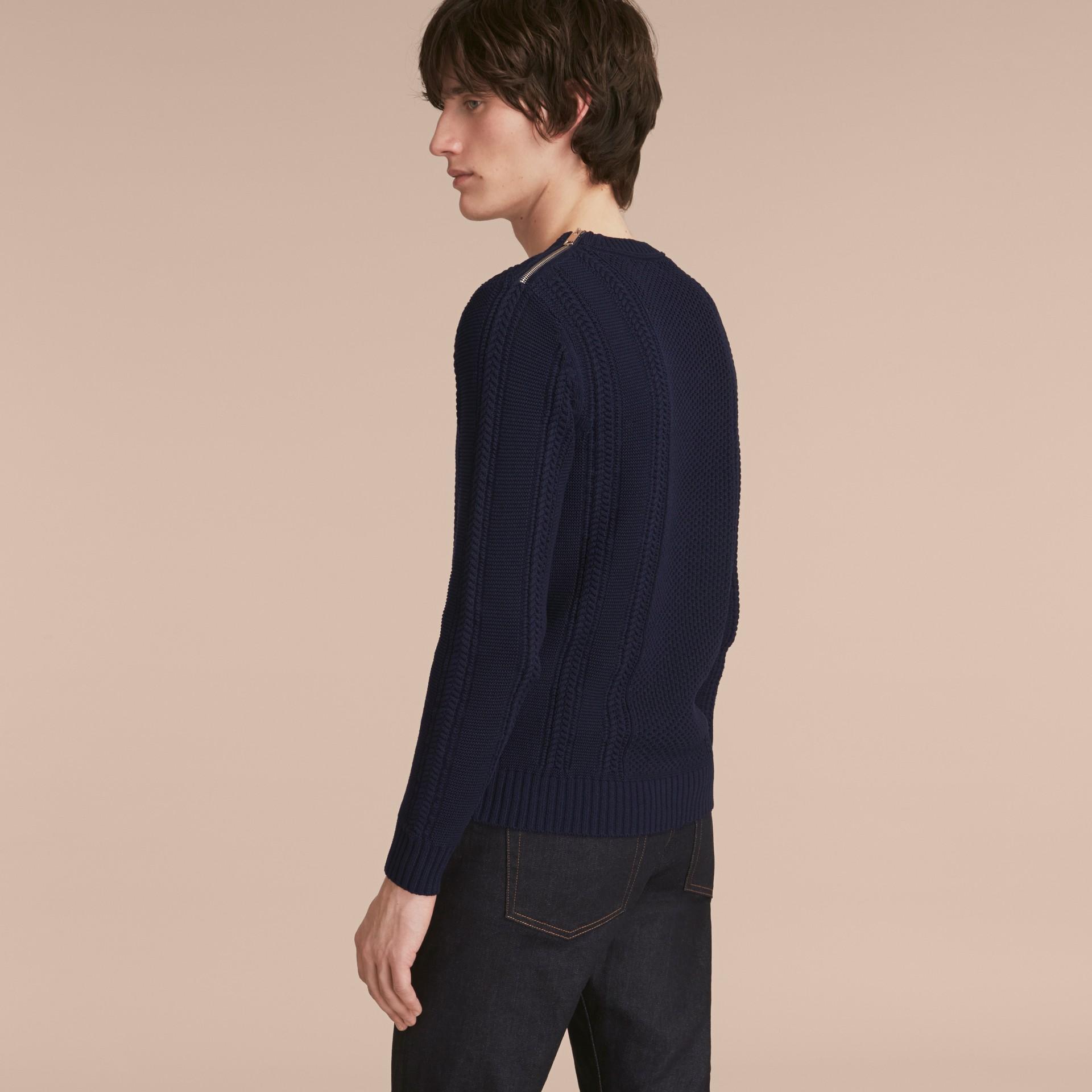 Zip Detail Aran Knit Cotton Sweater - gallery image 3