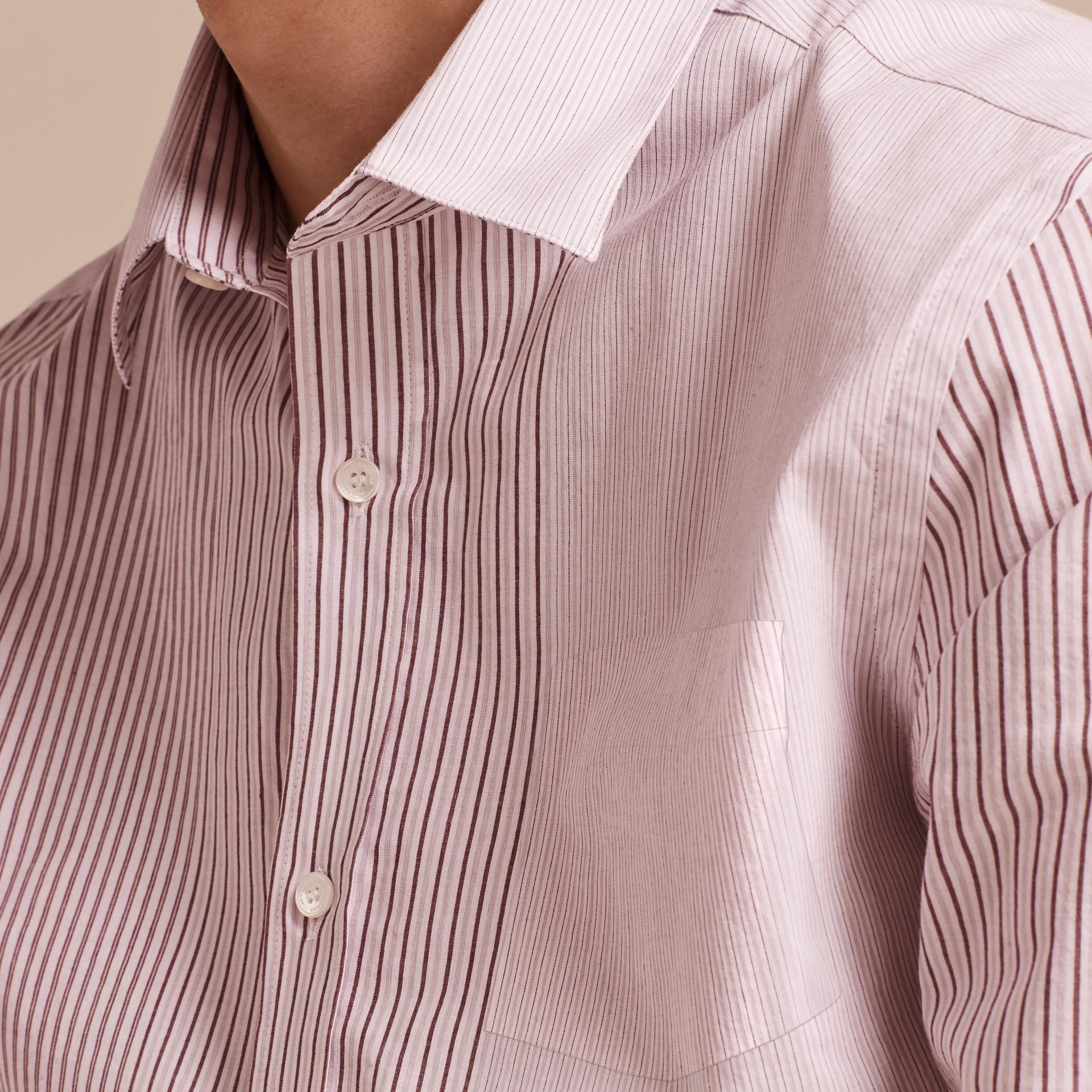 Panelled Stripe Cotton Shirt Rose Pink - gallery image 5