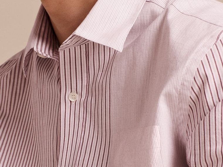 Panelled Stripe Cotton Shirt Rose Pink - cell image 4