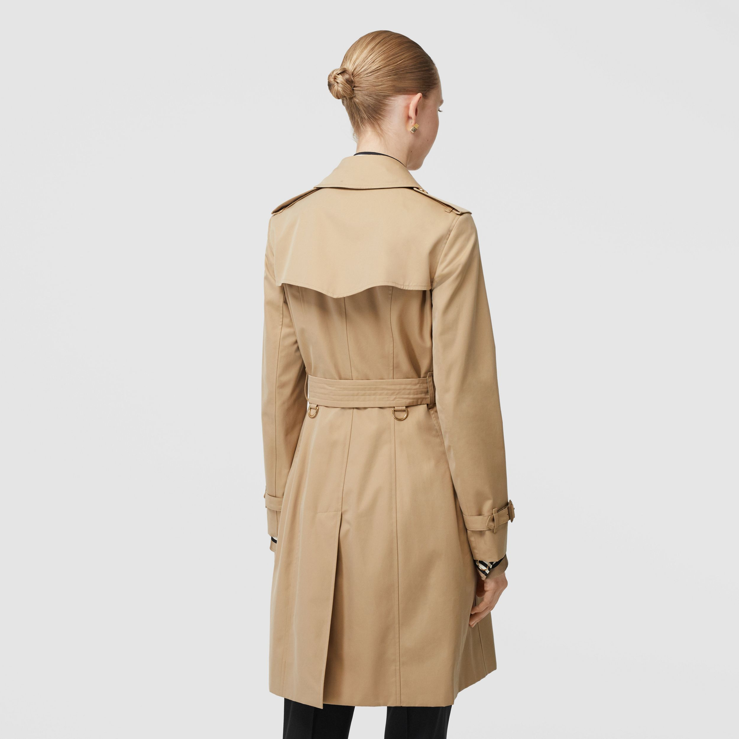 Button Detail Cotton Gabardine Trench Coat in Honey - Women | Burberry - 3