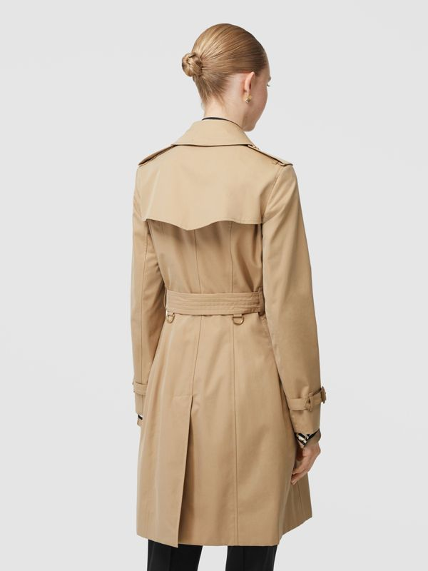 Button Detail Cotton Gabardine Trench Coat in Honey - Women | Burberry - cell image 2