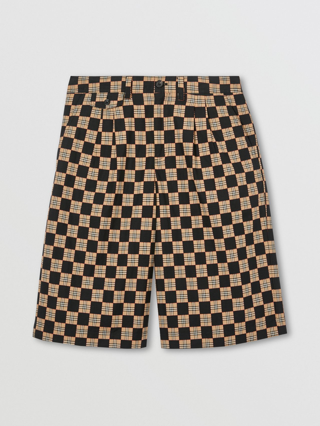 Chequer Cotton Jacquard Tailored Shorts in Archive Beige