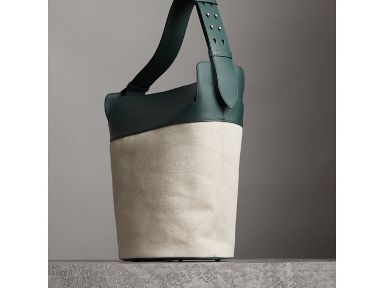 The Large Cotton Linen and Leather Bucket Bag in Dark Cyan - Women | Burberry - cell image 4