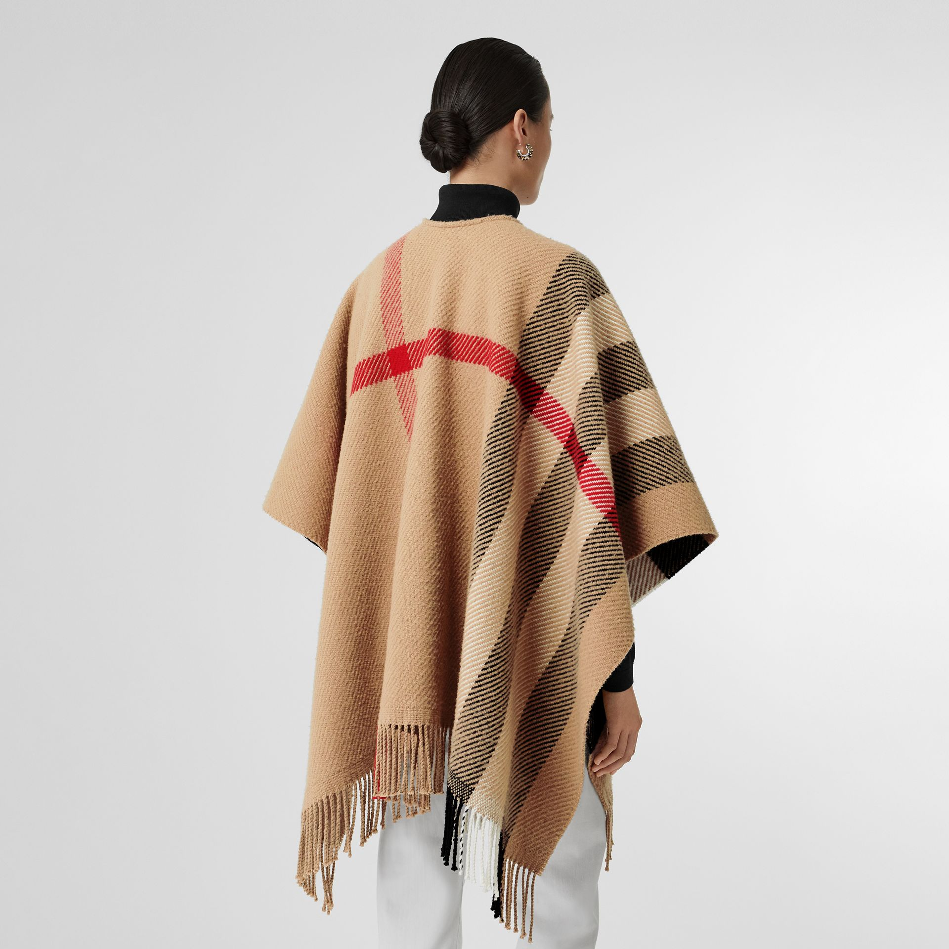 Check Wool Cashmere Cape in Camel - Women | Burberry Australia - gallery image 2