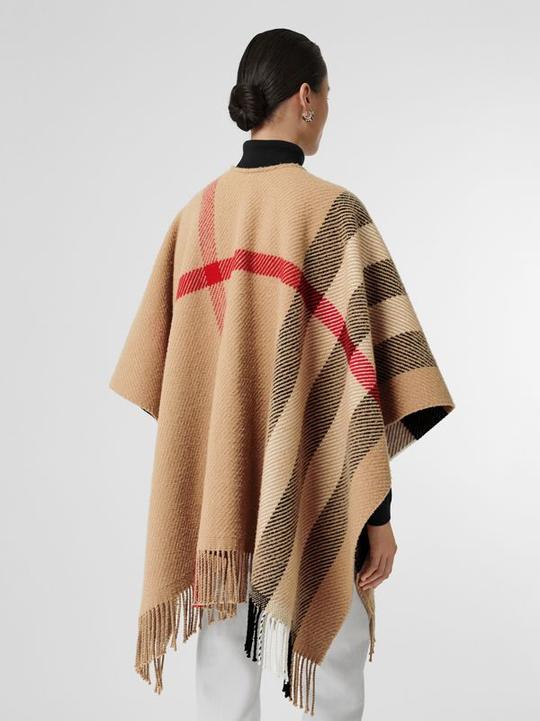 Check Wool Cashmere Cape in Camel - Women | Burberry - cell image 2