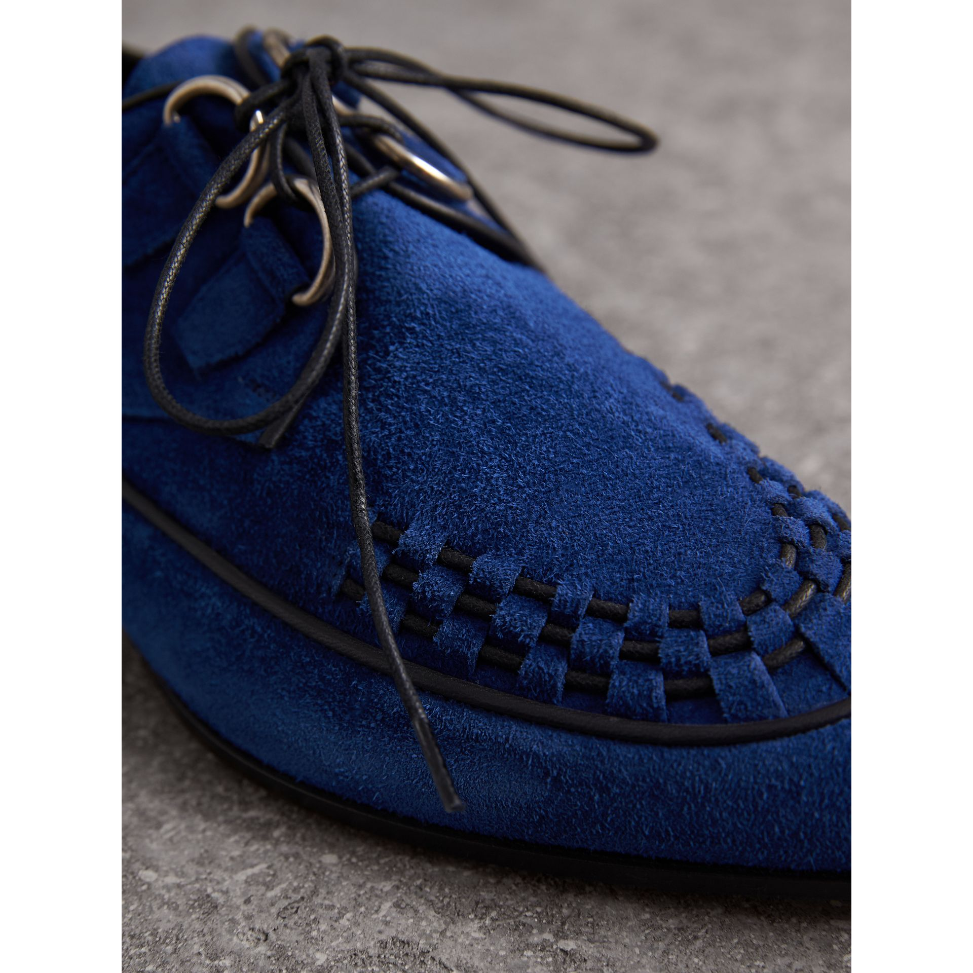 Leather Cord Detail Suede Lace-up Shoes in Brilliant Blue - Women | Burberry Singapore - gallery image 2