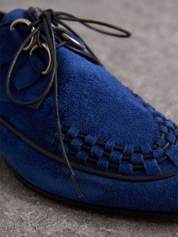 Woven-toe Suede Derby Shoes in Brilliant Blue - Women | Burberry - cell image 1