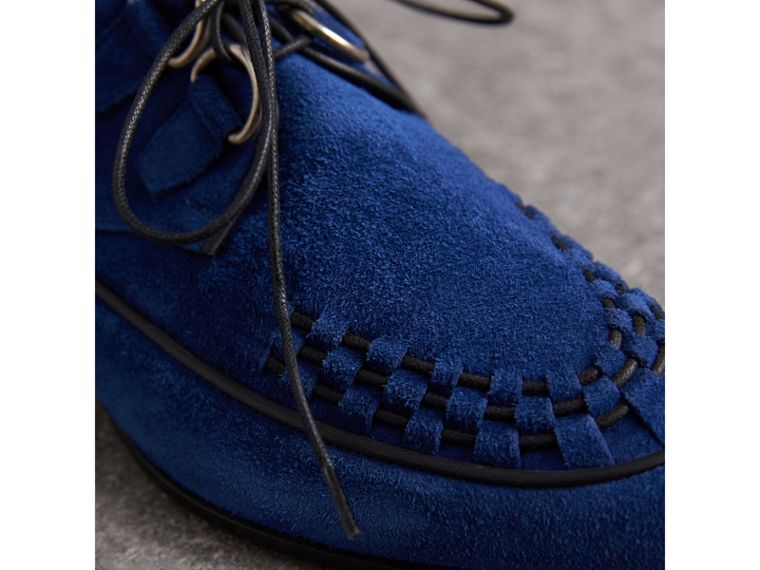 Leather Cord Detail Suede Lace-up Shoes in Brilliant Blue - Women | Burberry - cell image 1