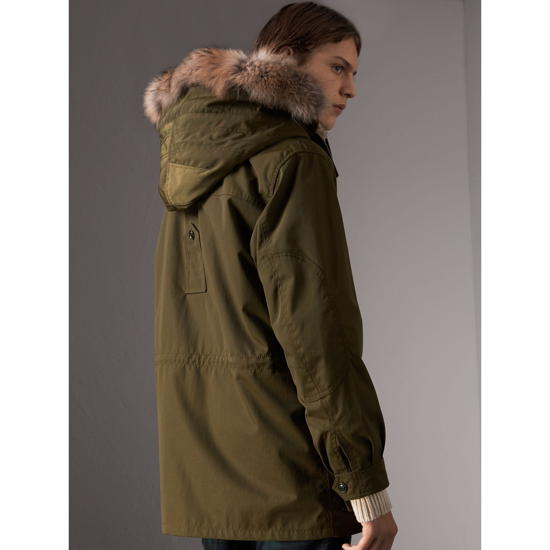 Detachable Fur Warmer and Fur Trim Hooded Parka in Military Green - Men | Burberry Singapore - gallery image 2