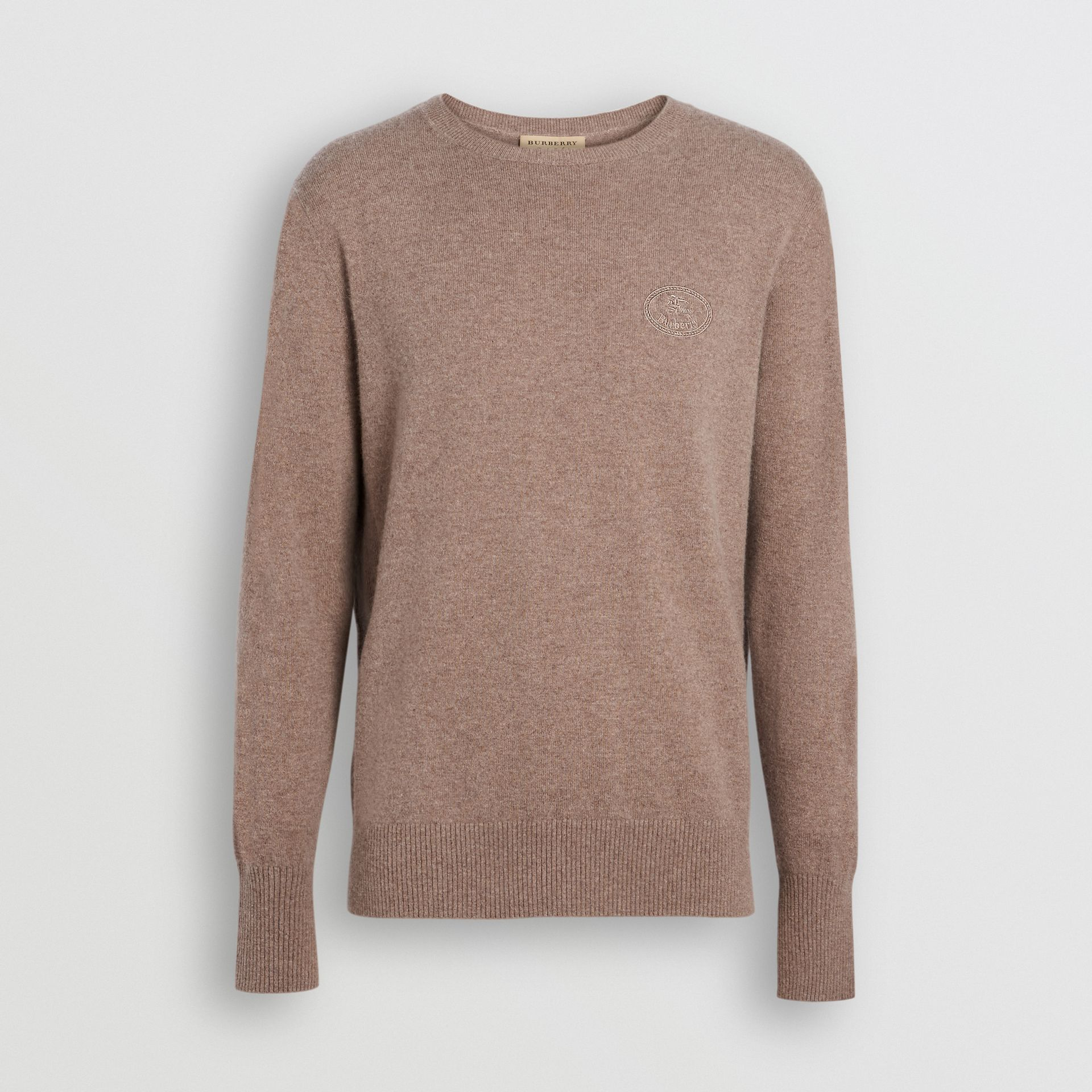 Embroidered Archive Logo Cashmere Sweater in Camel Melange - Men | Burberry Australia - gallery image 3