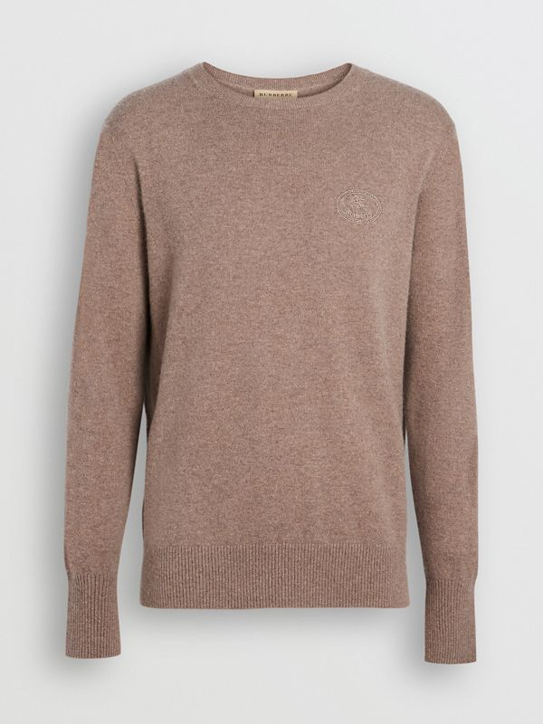 Embroidered Archive Logo Cashmere Sweater in Camel Melange - Men | Burberry Australia - cell image 3
