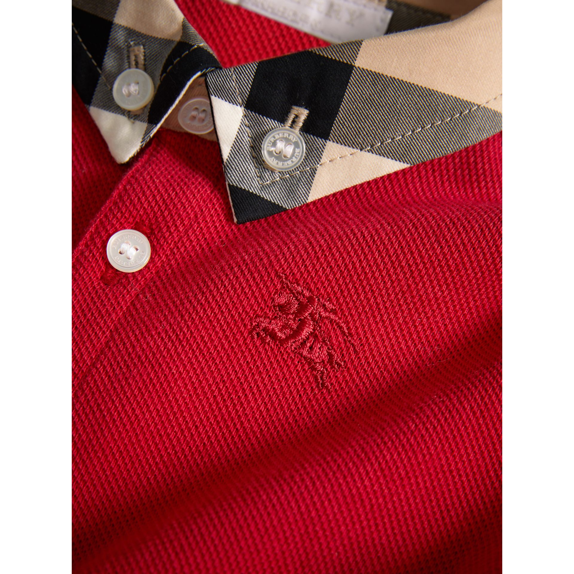 Check Collar Cotton Polo Shirt in Military Red | Burberry - gallery image 1