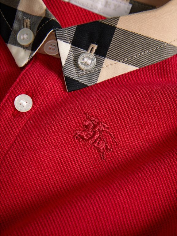 Check Collar Cotton Polo Shirt in Military Red | Burberry - cell image 1