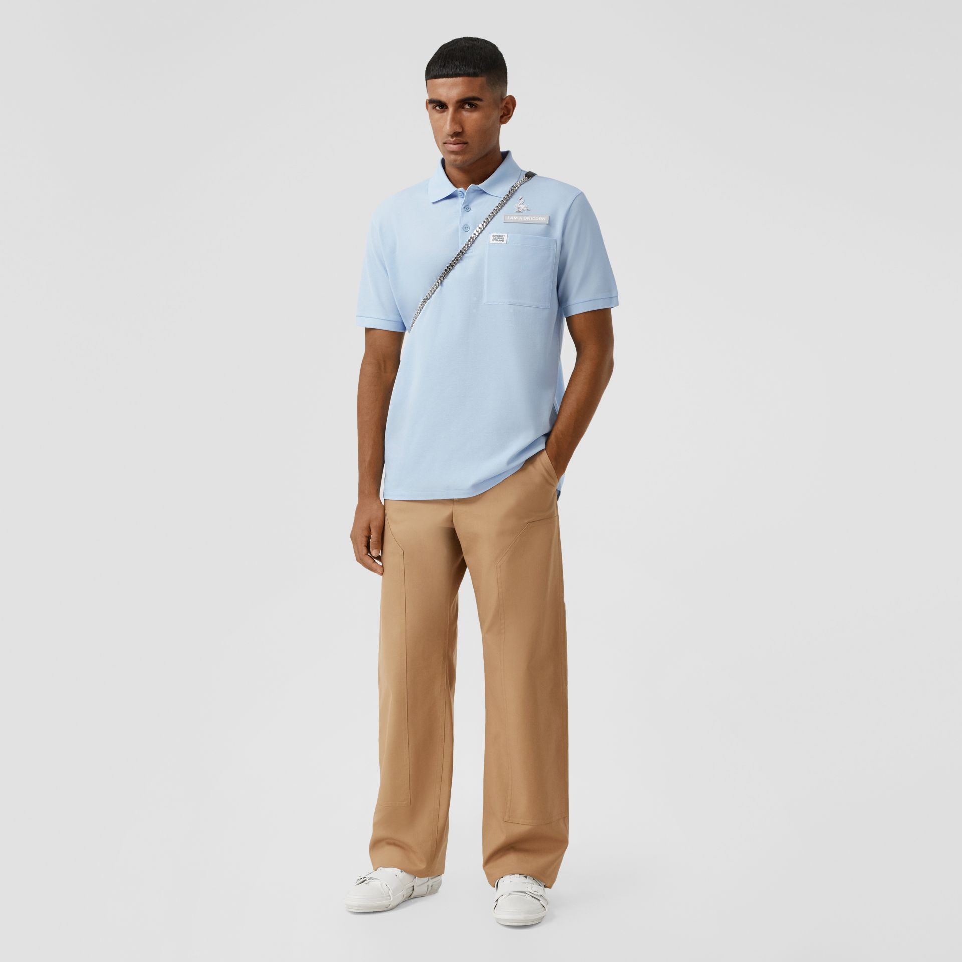 Swan and Slogan Appliqué Cotton Polo Shirt in Pale Blue - Men | Burberry - gallery image 4