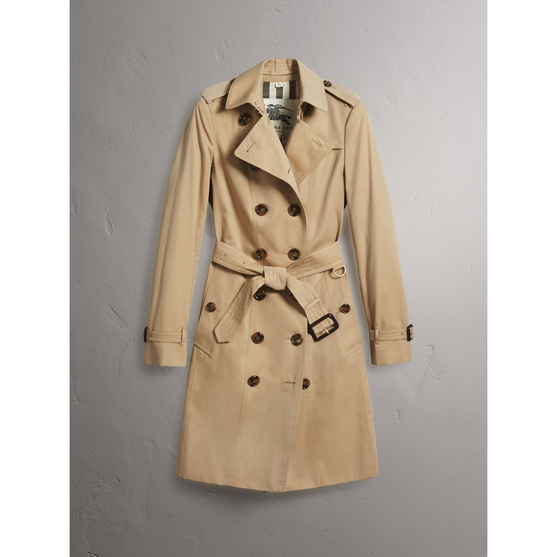Leather Trim Cotton Gabardine Trench Coat in Honey - Women | Burberry - gallery image 3