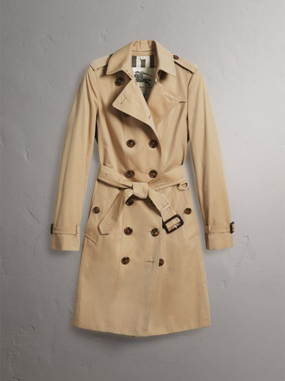 Leather Trim Cotton Gabardine Trench Coat in Honey - Women | Burberry - cell image 3