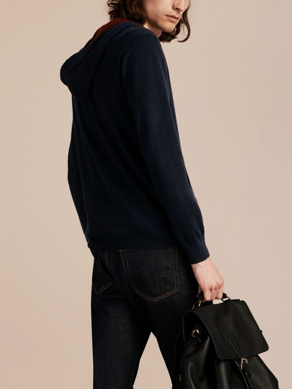 Navy Two-tone Cashmere Hooded Top - cell image 2