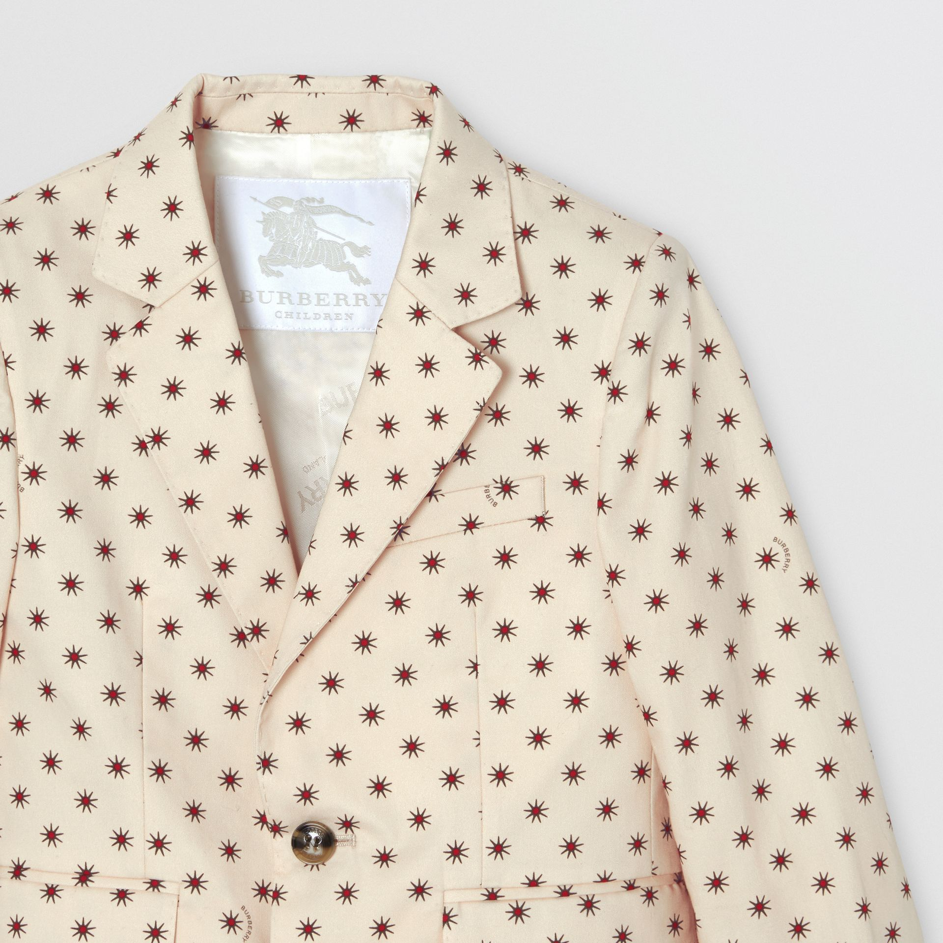 Star Print Cotton Blazer in Military Red | Burberry - gallery image 4