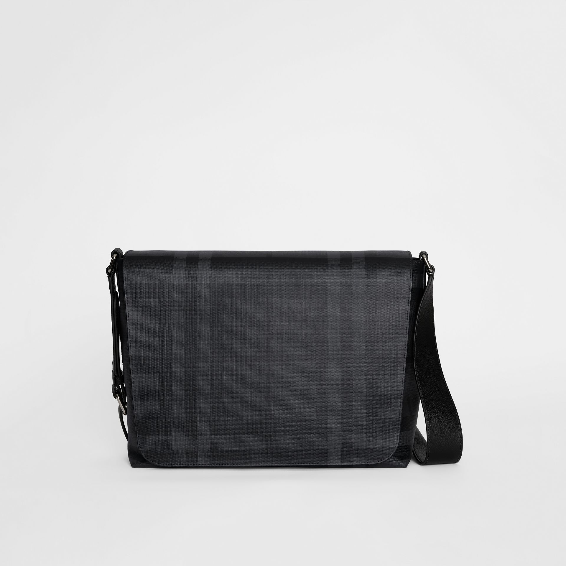 Large London Check Messenger Bag in Charcoal/black | Burberry United Kingdom - gallery image 0