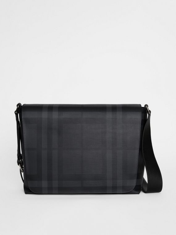 Bolso messenger grande en tejido de London Checks (Gris Marengo / Negro)