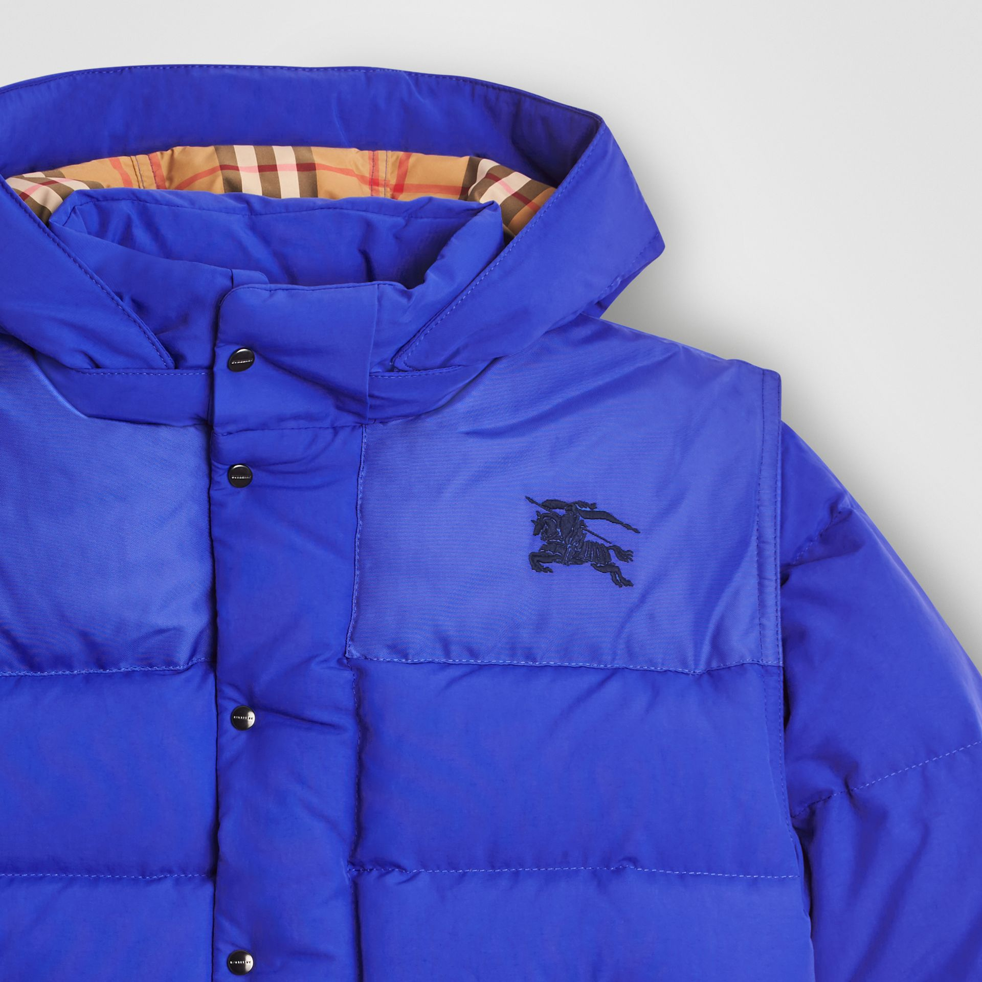 Detachable Hood Down-filled Puffer Jacket in Royal Blue | Burberry - gallery image 4
