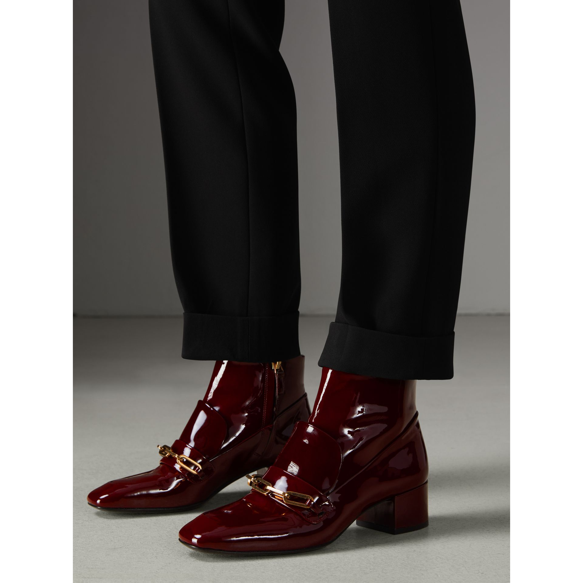 Link Detail Patent Leather Ankle Boots in Burgundy Red - Women | Burberry Singapore - gallery image 2