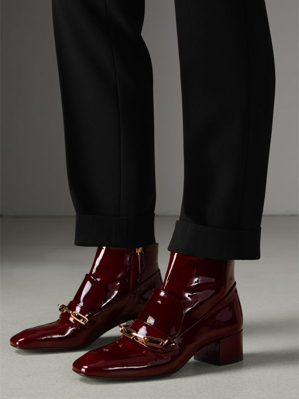Link Detail Patent Leather Ankle Boots in Burgundy Red - Women | Burberry - cell image 2