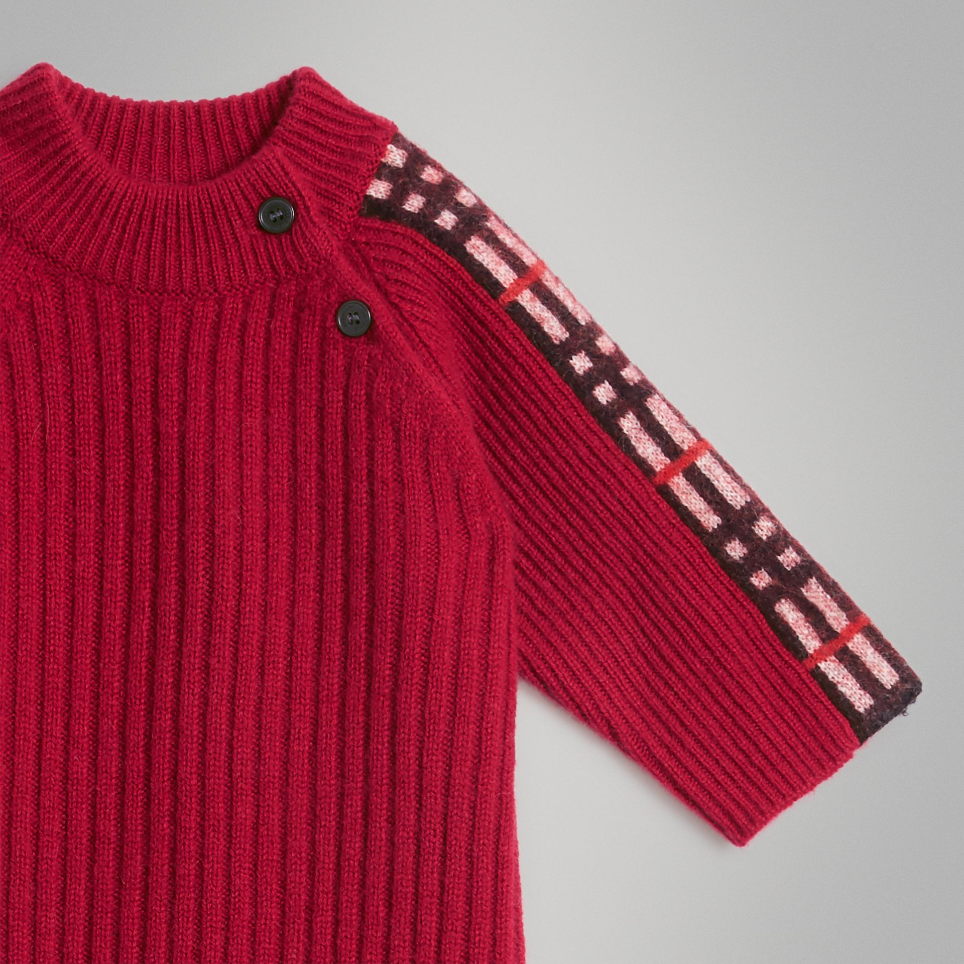 Check Detail Cashmere Jumpsuit in Burgundy Red - Children | Burberry United Kingdom - gallery image 4