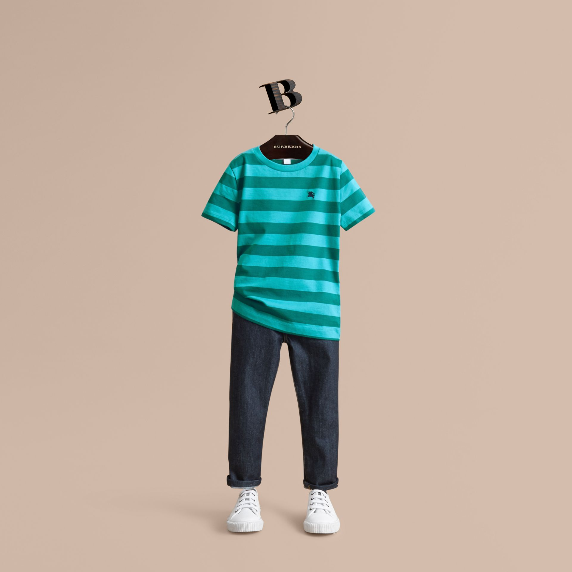 Striped Cotton T-Shirt in Bright Teal/dark Teal - Boy | Burberry - gallery image 1