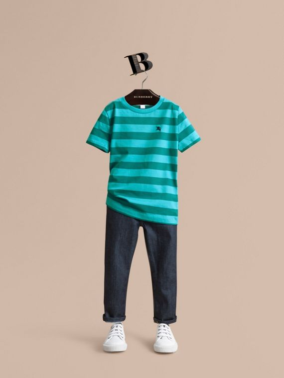 Striped Cotton T-Shirt in Bright Teal/dark Teal - Boy | Burberry