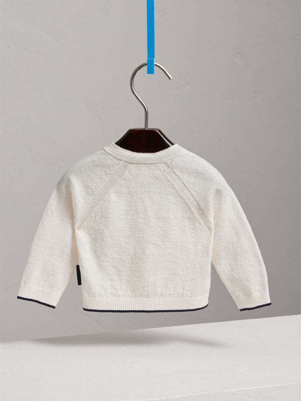 Rib Detail Linen Cotton Cardigan in White - Children | Burberry - cell image 3