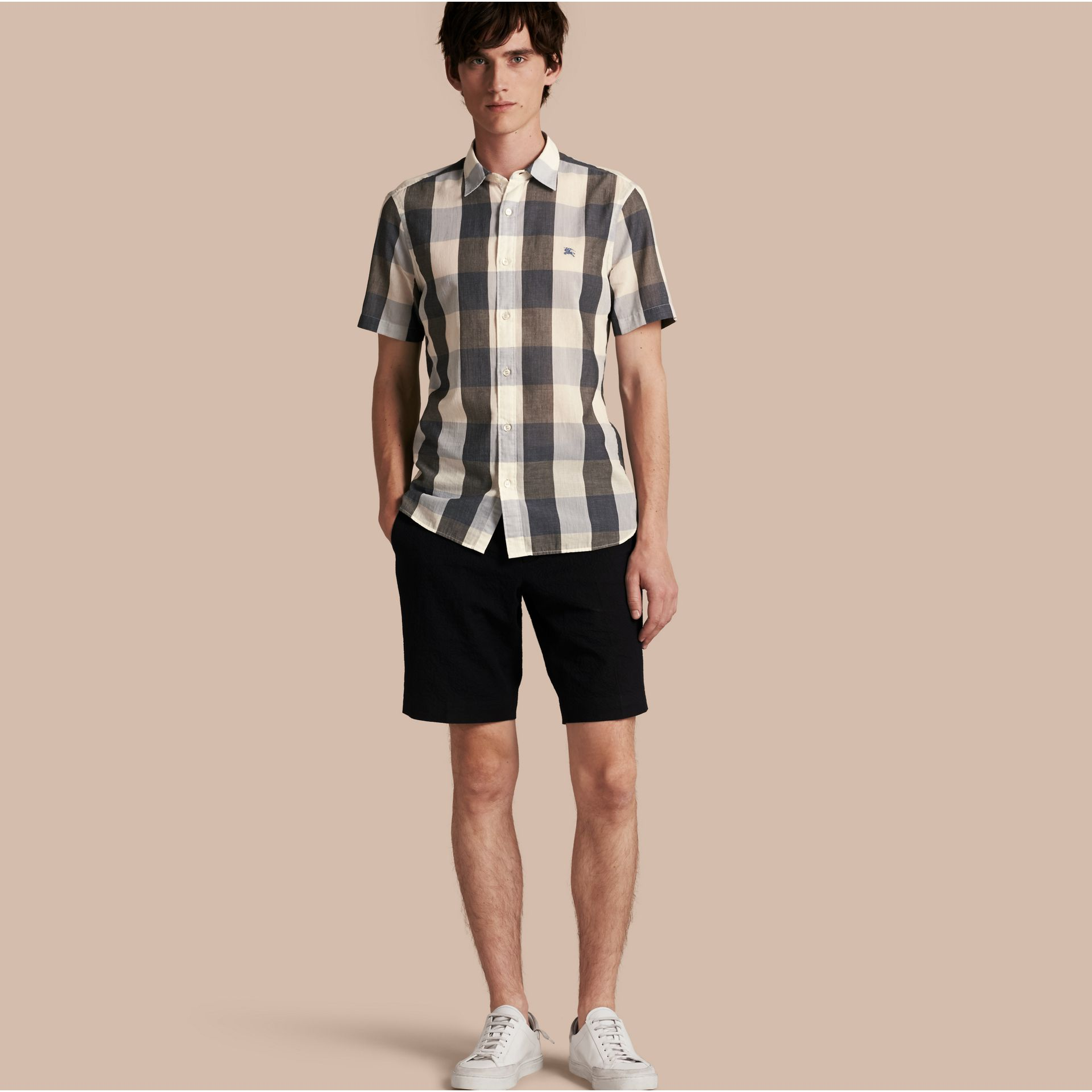Short-sleeved Exploded Gingham Cotton Linen Shirt Pale Cornflower Blue - gallery image 1