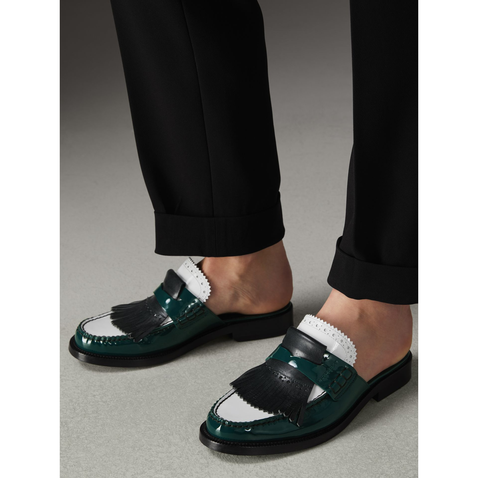 Tri-tone Kiltie Fringe Leather Mules in Dark Forest Green - Women | Burberry - gallery image 2