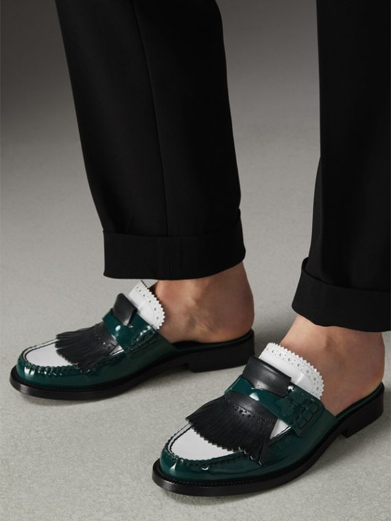 Tri-tone Kiltie Fringe Leather Mules in Dark Forest Green - Women | Burberry - cell image 2