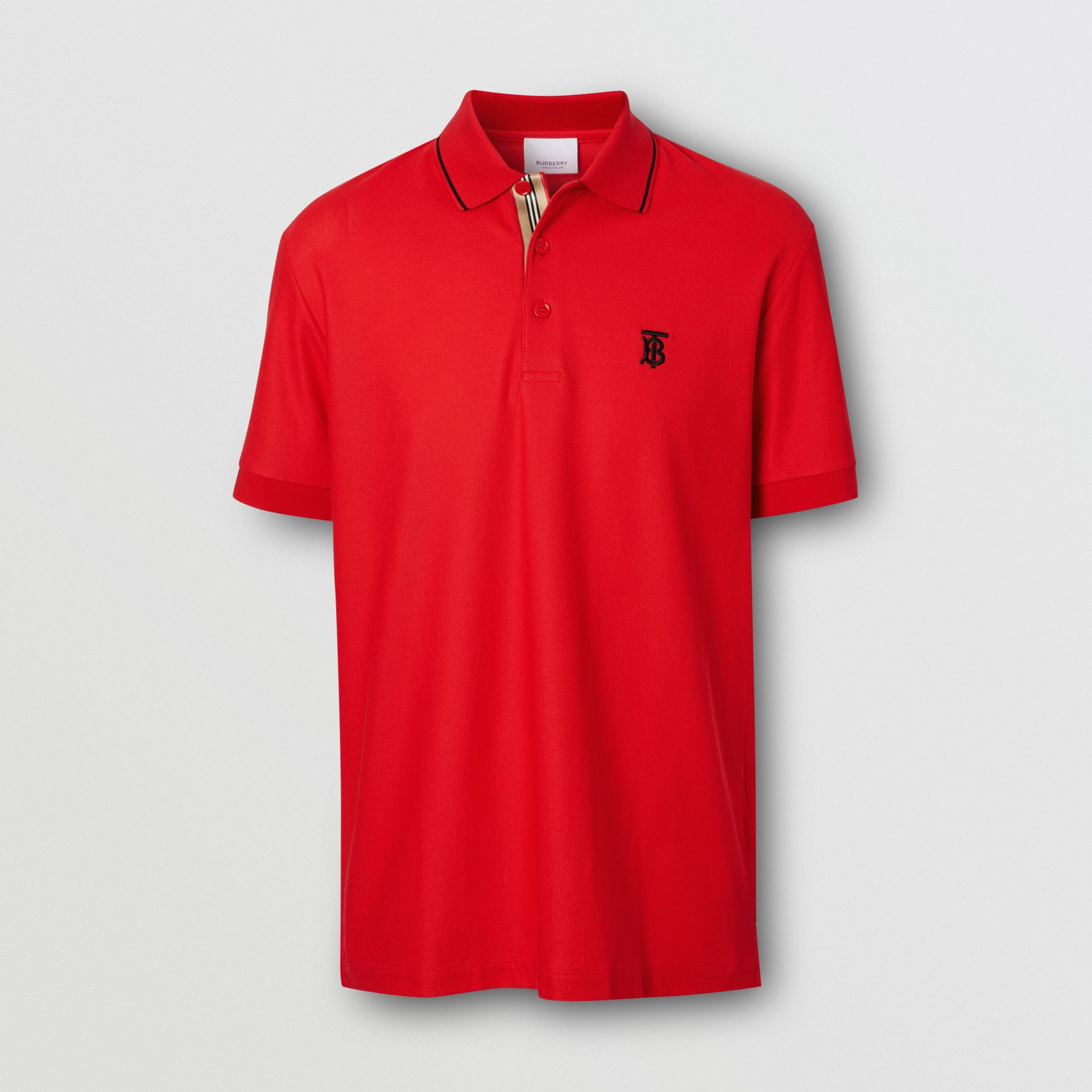 Icon Stripe Placket Cotton Piqué Polo Shirt in Bright Red - Men | Burberry United States - gallery image 3