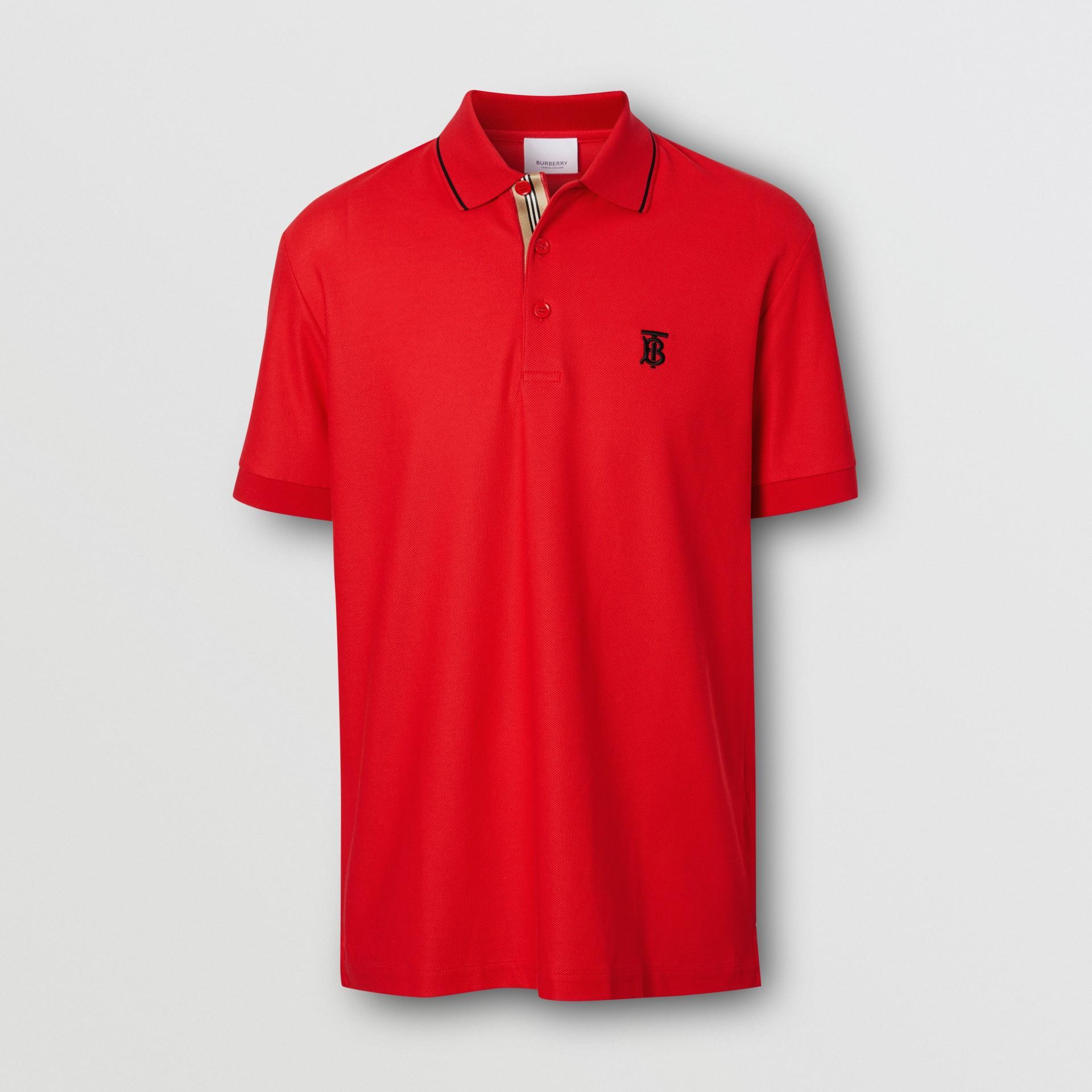 Polo in cotone piqué con iconico motivo a righe (Rosso Intenso) - Uomo | Burberry - immagine della galleria 3