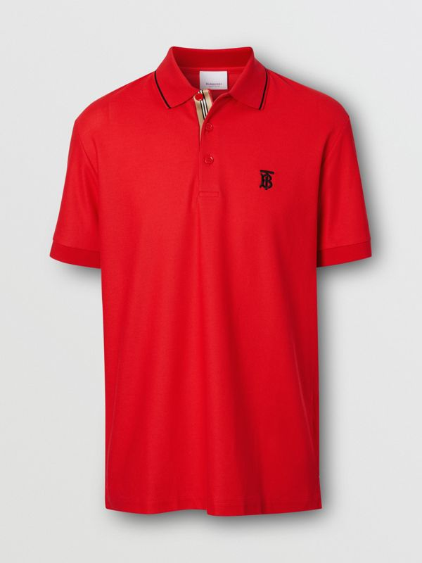 Icon Stripe Placket Cotton Piqué Polo Shirt in Bright Red - Men | Burberry - cell image 3