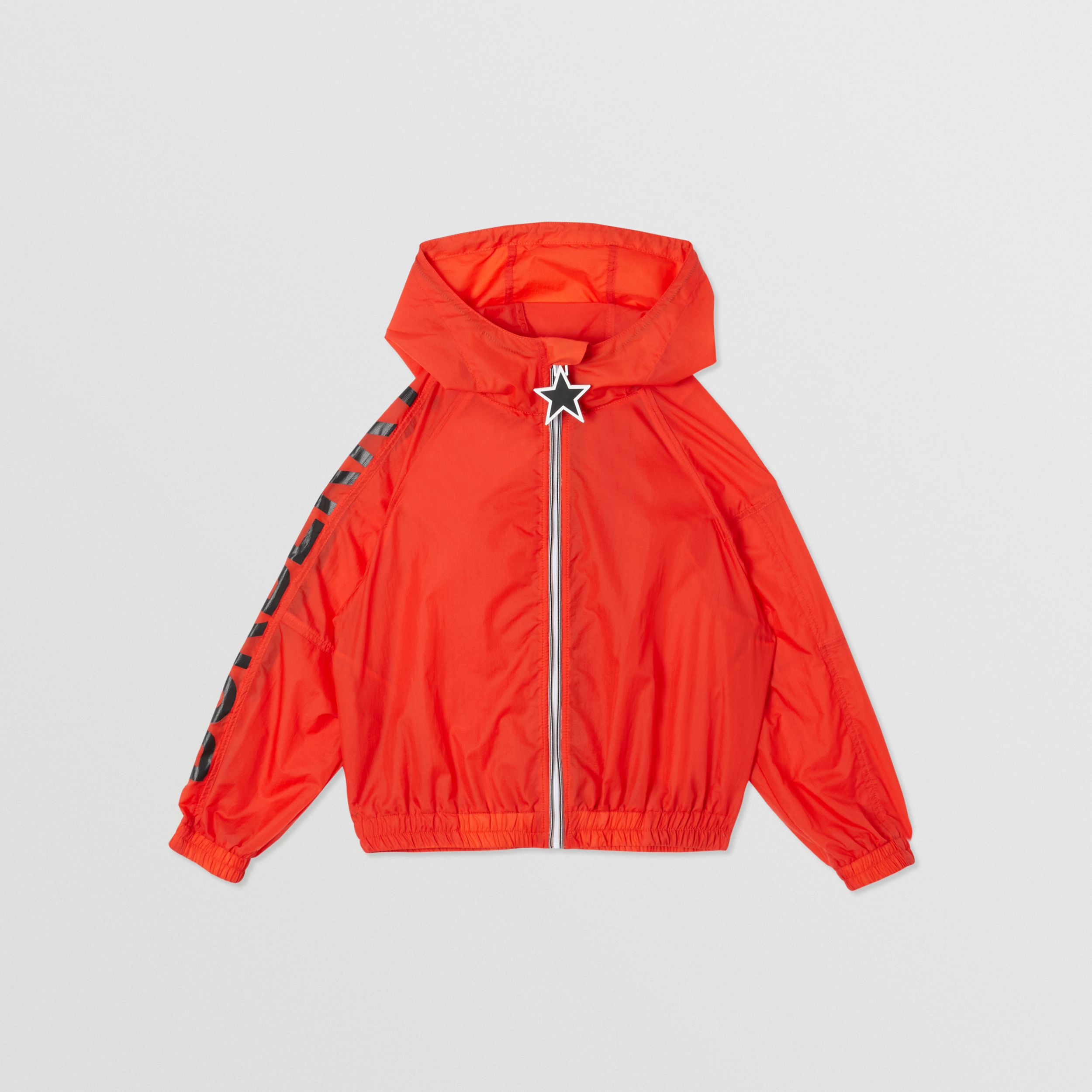 Star Detail Logo Print Lightweight Hooded Jacket in Vermilion Red | Burberry - 1